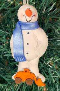 Front End Loader Snowman Tree Ornament