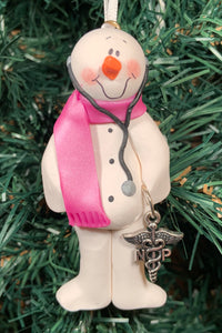 Nurse Practitioner (NP) Snowman Tree Ornament