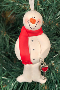 Red Wine Lover Snowman Tree Ornament