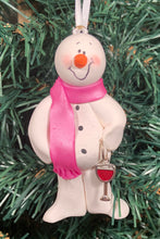 Load image into Gallery viewer, Red Wine Lover Snowman Tree Ornament