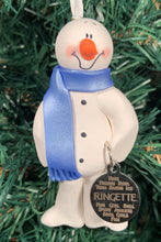 Load image into Gallery viewer, Ringette Snowman Tree Ornament
