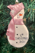 Load image into Gallery viewer, Snowman Baby Tree Ornament - Pink Scarf