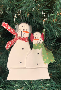 Snowman Family Tree Ornament with 2