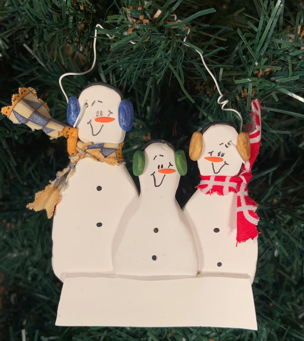 Snowman Family Tree Ornament with 3