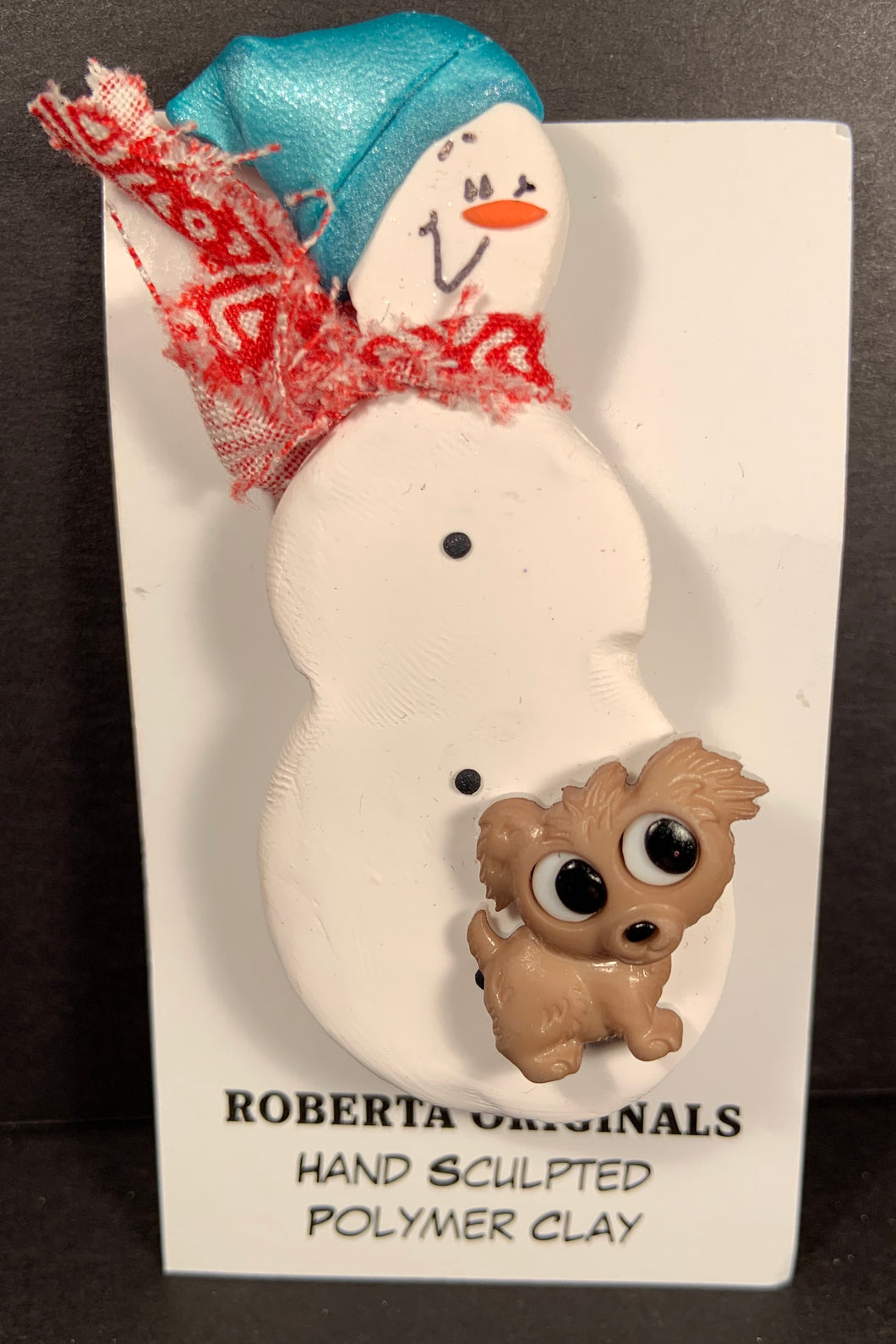 Snowman Pin with Dog #102 One-Of-a-kind