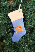 Load image into Gallery viewer, Teddy Stocking Tree Ornament - Blue