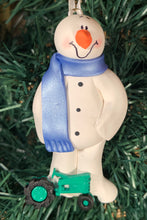Load image into Gallery viewer, Farmer Tractor Snowman Tree Ornament