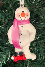 Load image into Gallery viewer, Train Snowman Tree Ornament