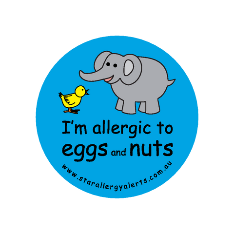 I'm allergic to Eggs and Nuts (blue) - badge