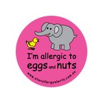 I'm allergic to Eggs and Nuts (pink) - badge