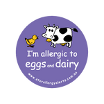 I'm allergic to Eggs and Dairy - badge