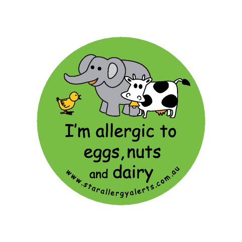 I'm allergic to Eggs Nuts and Dairy - badge