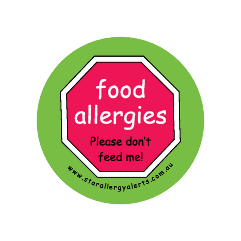 Food Allergies, Please don't feed me - badge 44mm