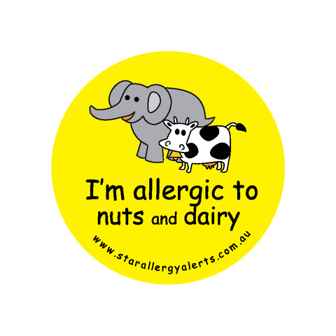 I'm allergic to Nuts and Dairy - badge