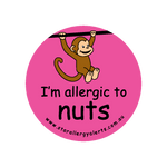 I'm allergic to Nuts (Monkey Pink) - badge