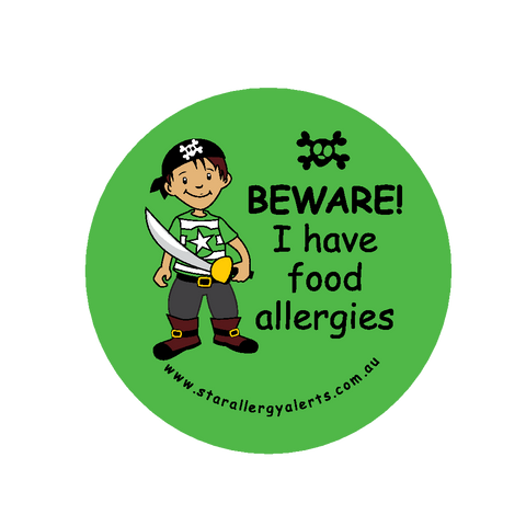 Beware, I have food allergies pirate - sticker
