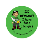 Beware, I have food allergies pirate - badge