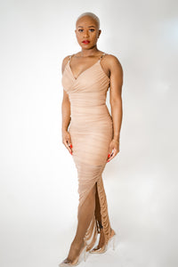 Nude Gold Chain Ruched Dress (Not eligible for coupon codes or additional discount)