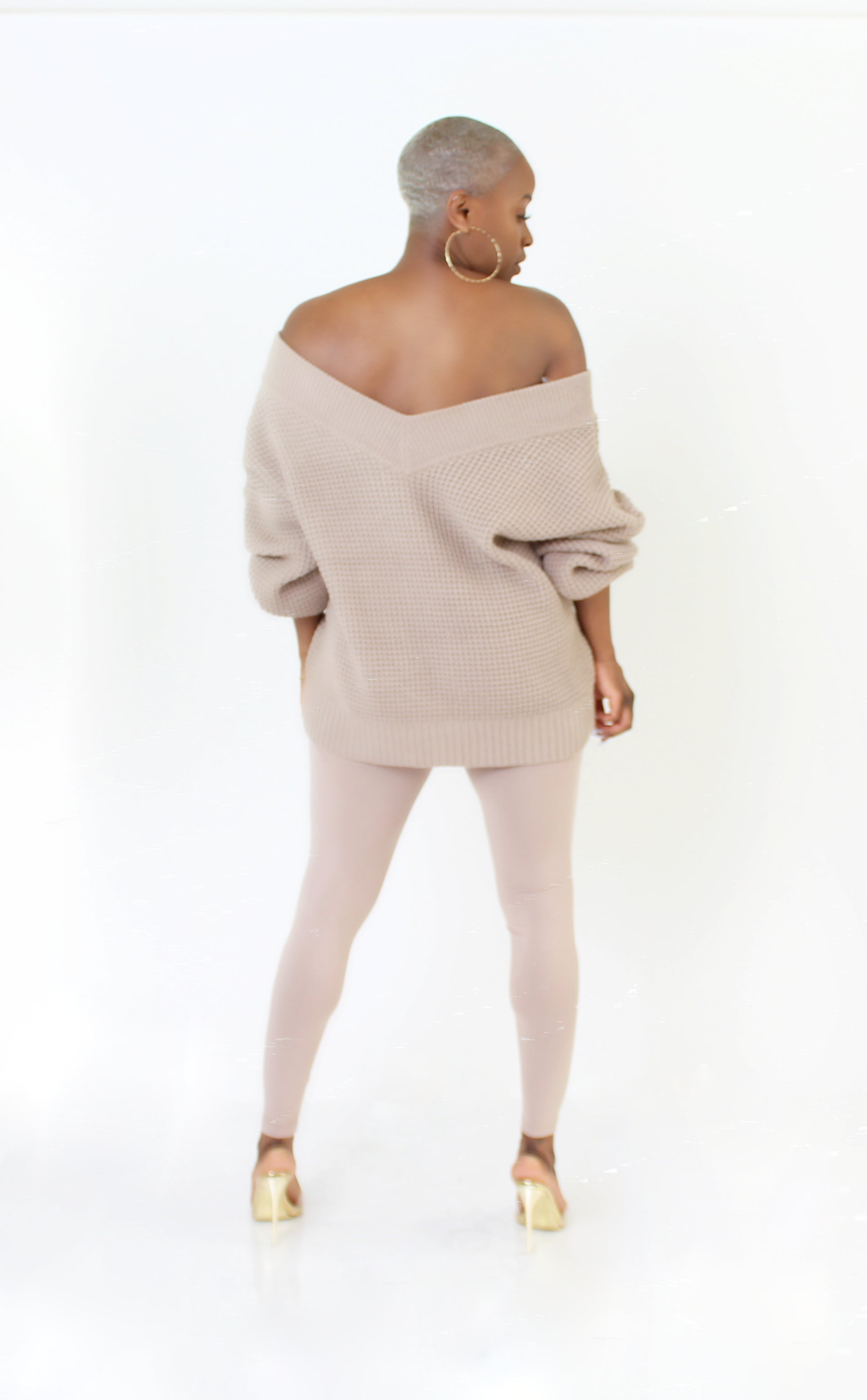 PLUS SIZE--Off the Shoulder Mocha Almond Sweater Pants Set
