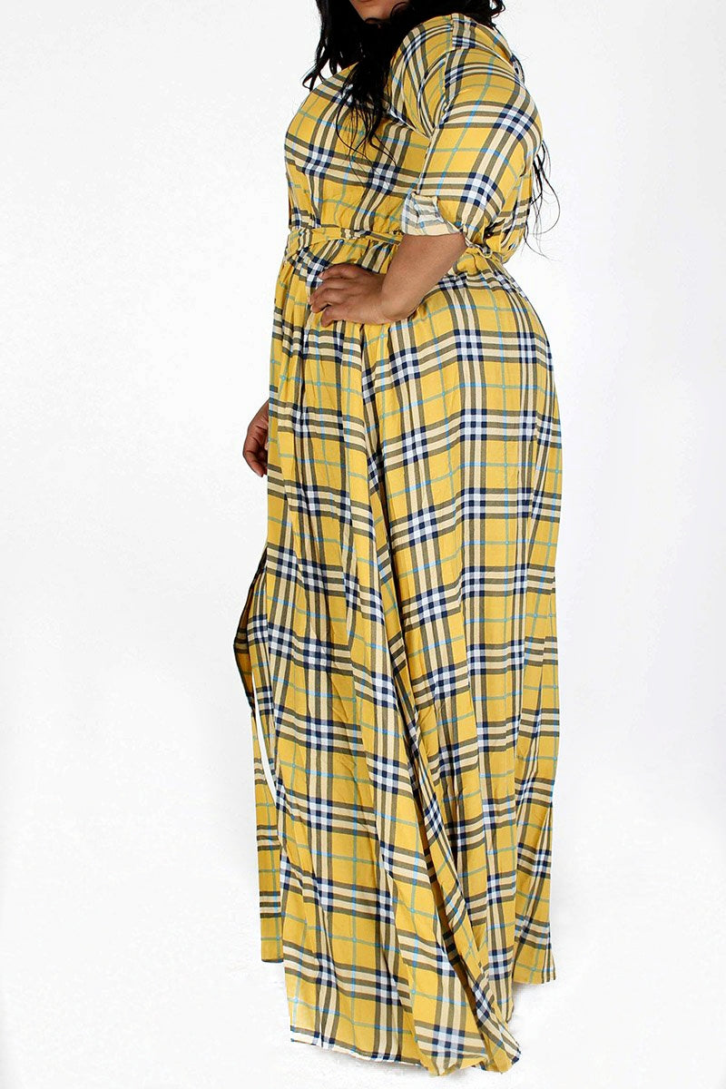 Hello Sunshine Plaid Maxi Dress (Plus Size)  Will Ship The Week of (3/15/21)
