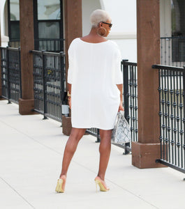 (Plus Size)-- She's So Versatile Winter White Top/Dress  (Will Ship The Week of 3/1/21)