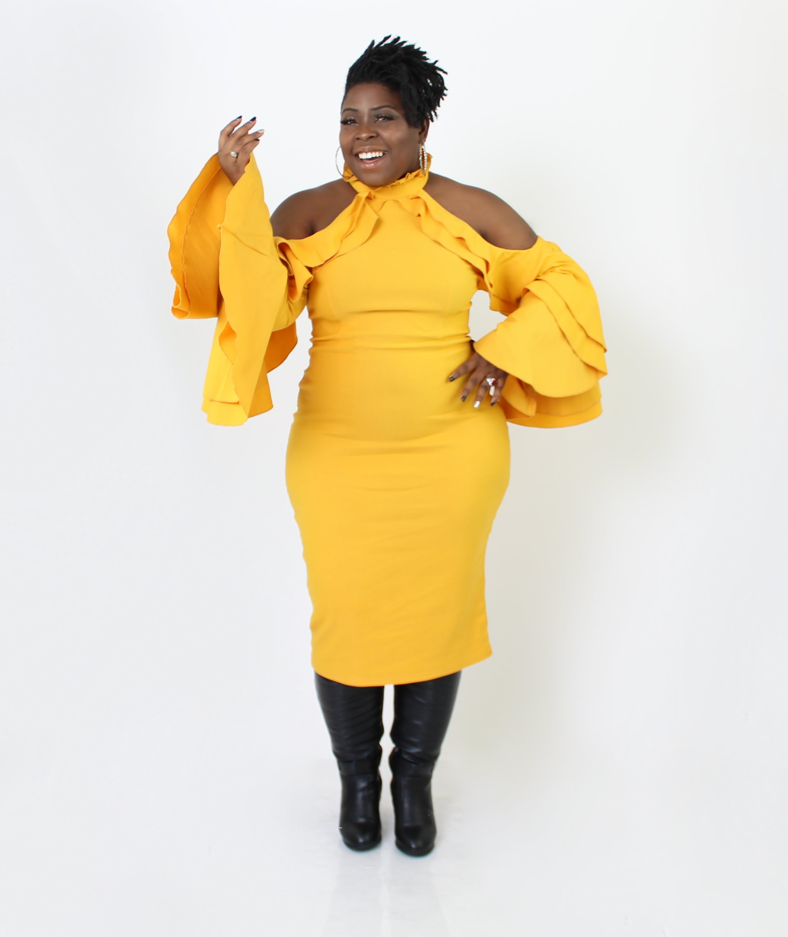 Headed To Brunch Midi Dress (Plus Size)