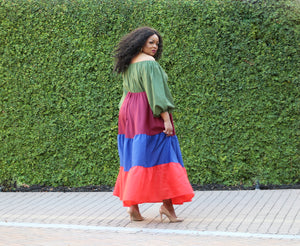 Bohemian Off The Shoulder Maxi Dress (Plus Size)--Will Ship The Week Of 4/12/21
