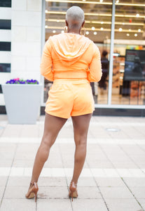 She's Too Cute Cropped Hoodie & Shorts Set (Dreamsicle)