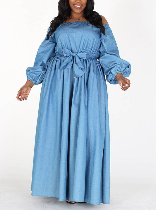 Sophisticated Lady Lightweight Denim Off The Shoulder Maxi Dress