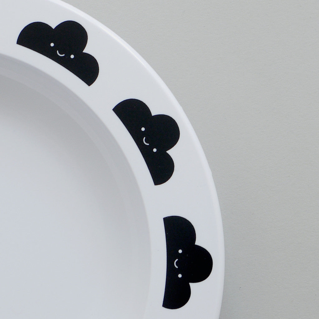 BUDDY AND BEAR - HAPPY CLOUDS MELAMINE PLATE - BLACK - Ivy Cabin