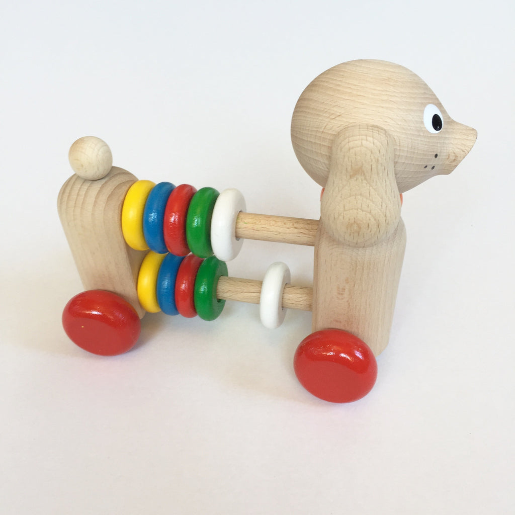 WOODEN PUSH ALONG ABACUS DOG
