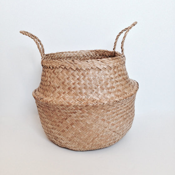 NATURAL SEAGRASS BASKET - NATURAL - Ivy Cabin