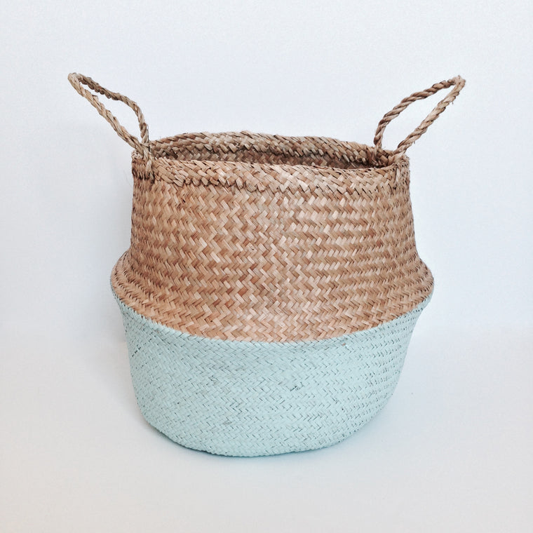 NATURAL SEAGRASS BASKET - AQUA - Ivy Cabin