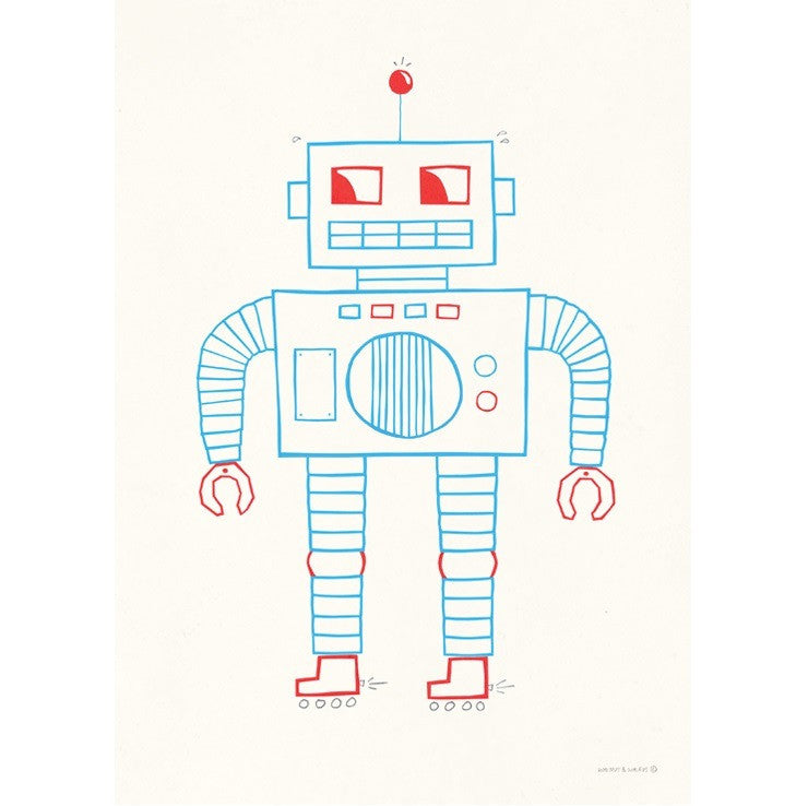 WALNUT AND WALRUS - ROBOT PRINT 50 x 70
