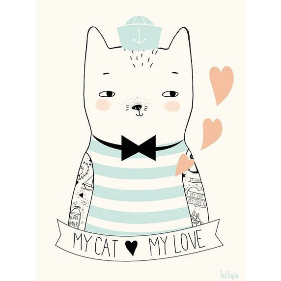 TAD LAPIN - MY CAT MY LOVE PRINT