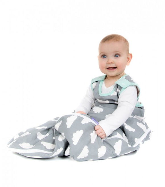 MAMA DESIGNS BABASAC SLEEPING BAG - GREY CLOUD TURQUOISE TRIM