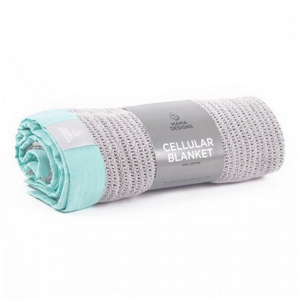 MAMA DESIGNS - CELLULAR BLANKET - GREY WITH TURQUOISE TRIM