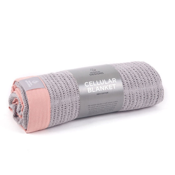 MAMA DESIGNS - CELLULAR BLANKET - GREY WITH PINK TRIM