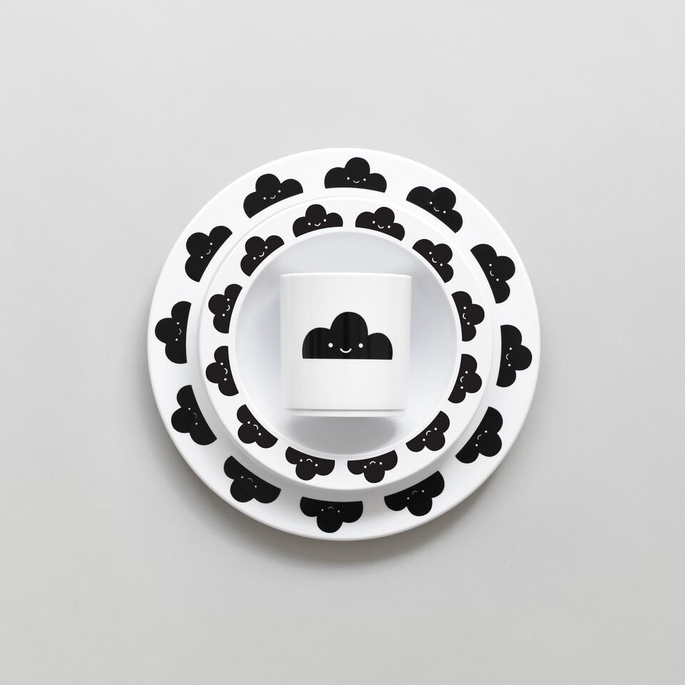 BUDDY AND BEAR - HAPPY CLOUDS PLATE - BLACK