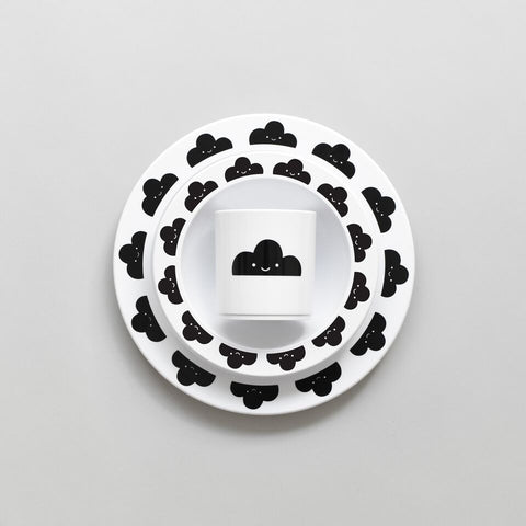 Buddy and Bear Happy Clouds plate black