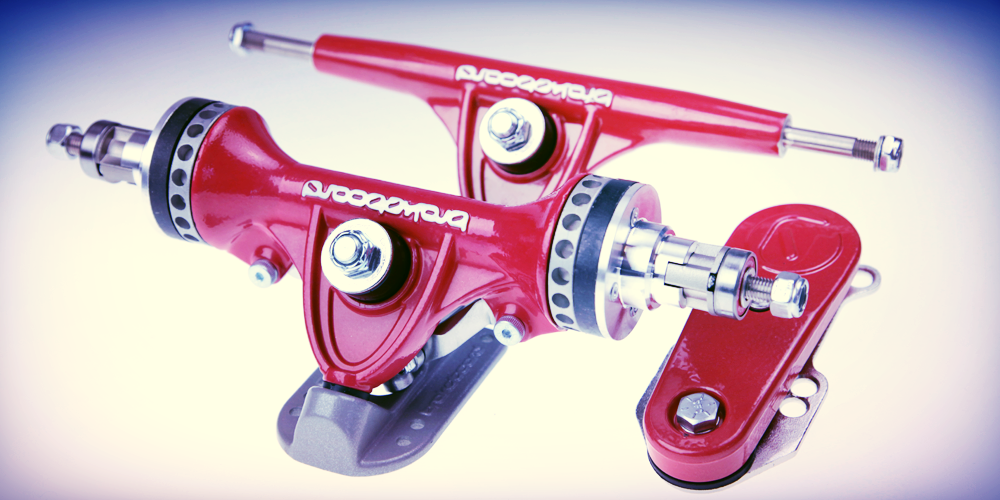Brakeboard red longboard trucks