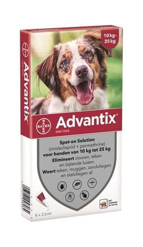 BAYER ADVANTIX SPOT ON 250/1250 10-25 KG - 6 PIP HOND BAYER