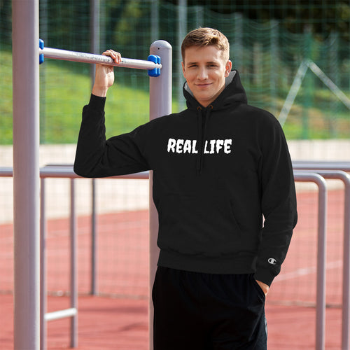 Real Life ( Champion Hoodie ) - Dream Team Empire Clothing LLC