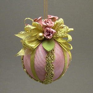 "Moiré Faille Taffeta Ball Christmas Ornament in Three Colors - Handmade by Towers and Turrets - ""Avon Lady"""