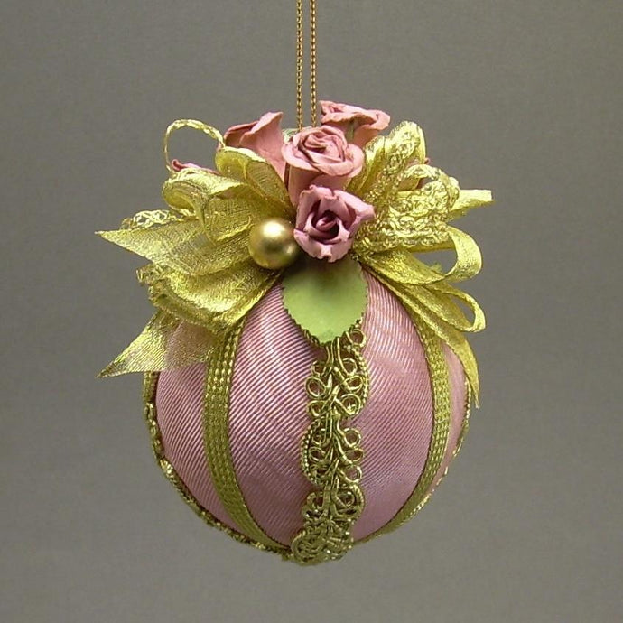 Moiré Faille Taffeta Ball Christmas Ornament in Three Colors - Handmade by Towers and Turrets -