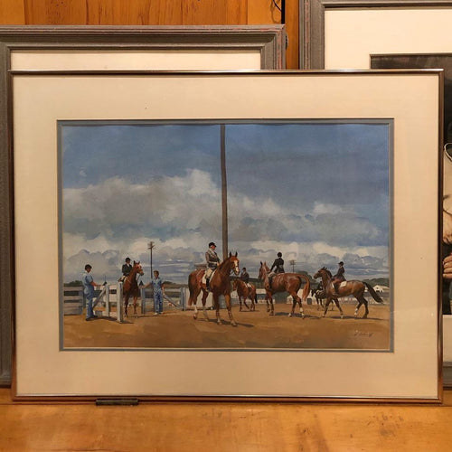 Nicholas Solovioff Equestrian Theme Watercolor Painting