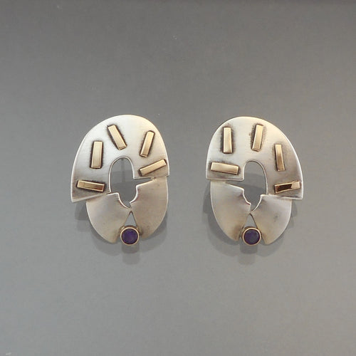 Vintage Handcrafted Modernist Style Earrings. Artist unknown. Sterling silver, brushed and polished finishes, and 14K gold with amethyst* stones.  *Stones have not been evaluated. Other materials have been acid-tested, but there are no marks. Vintage pre-owned condition. FREE US Shipping