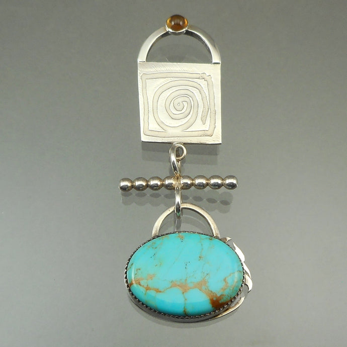 Vintage 1990s Brooch by American artist Amy S. White-Luke. Handcrafted in the USA of turquoise, amber and sterling silver. Excellent vintage pre-owned condition with expected surface scratches, mainly on the reverse, and tarnish.  FREE Shipping via USPS standard shipping to Continental US locations