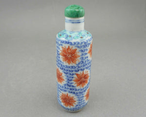 Antique 19th century Chinese Porcelain Snuff Bottle - Qing Dynasty - Green, Blue and Iron Red Flowers