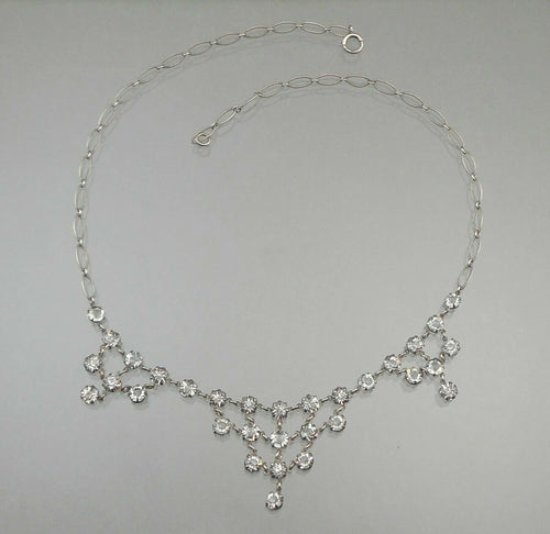 Antique Art Deco Sterling Silver Necklace with Open Back Crystals